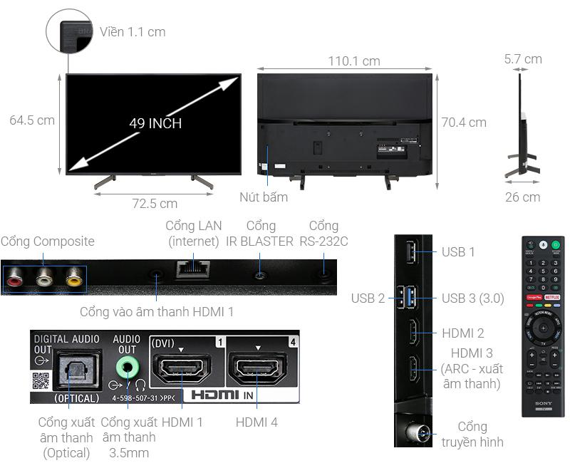 Thông số kỹ thuật Android Tivi Sony 4K 49 inch KD-49X8000G