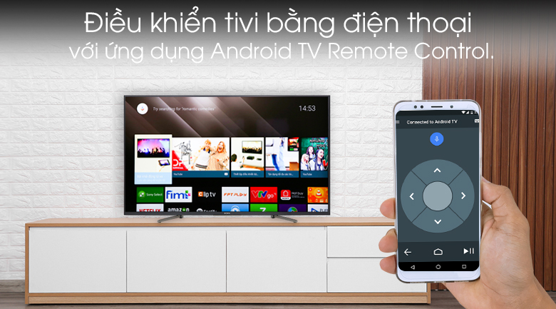 Android Tivi Sony 4K 49 inch KD-49X8000G - Điều khiển tivi qua ứng dụng Android TV Remote Control.