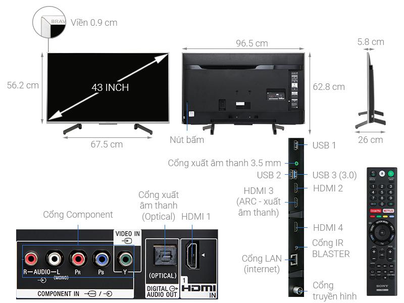 Thông số kỹ thuật Android Tivi Sony 4K 43 inch KD-43X8500G/S