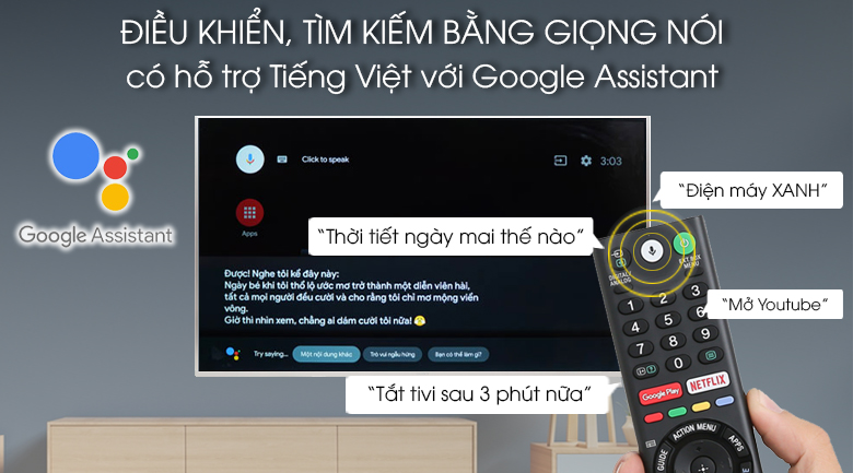 Android Tivi Sony 4K 43 inch KD-43X8500G/S - Remote thông minh