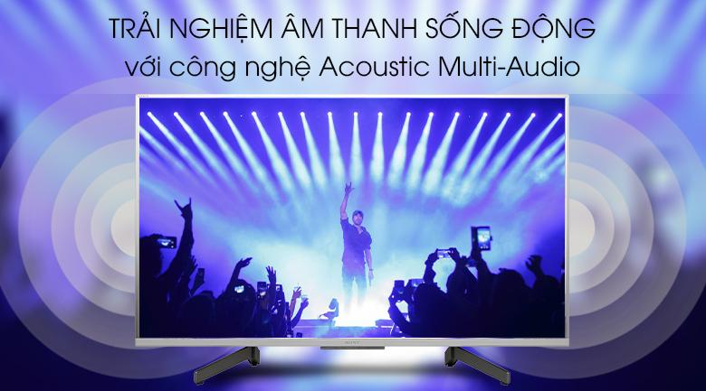 Android Tivi Sony 4K 43 inch KD-43X8500G/S - Công nghệ Acoustic Multi Audio mang đến trải nghiệm âm thanh sống động khi kết hợp với 2 loa tweeter phía sau tivi
