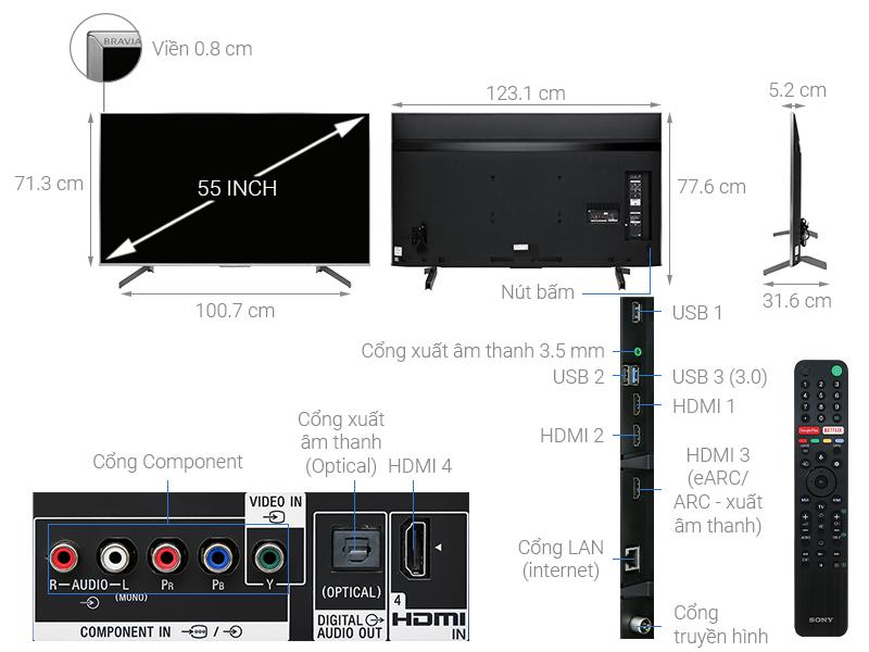 Thông số kỹ thuật Android Tivi Sony 4K 55 inch KD-55X8500G/S