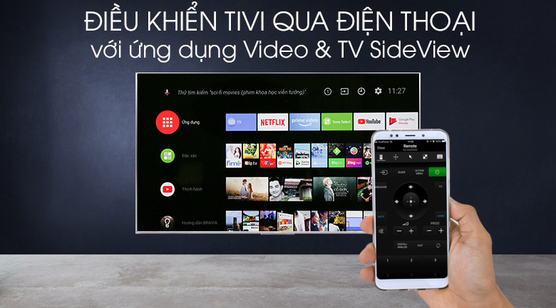 Android Tivi Sony 4K 55 inch KD-55X8500G/S - Video & TV SideView