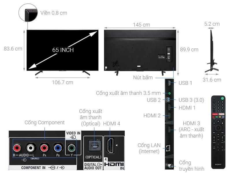 Thông số kỹ thuật Android Tivi Sony 4K 65 inch KD-65X8500G