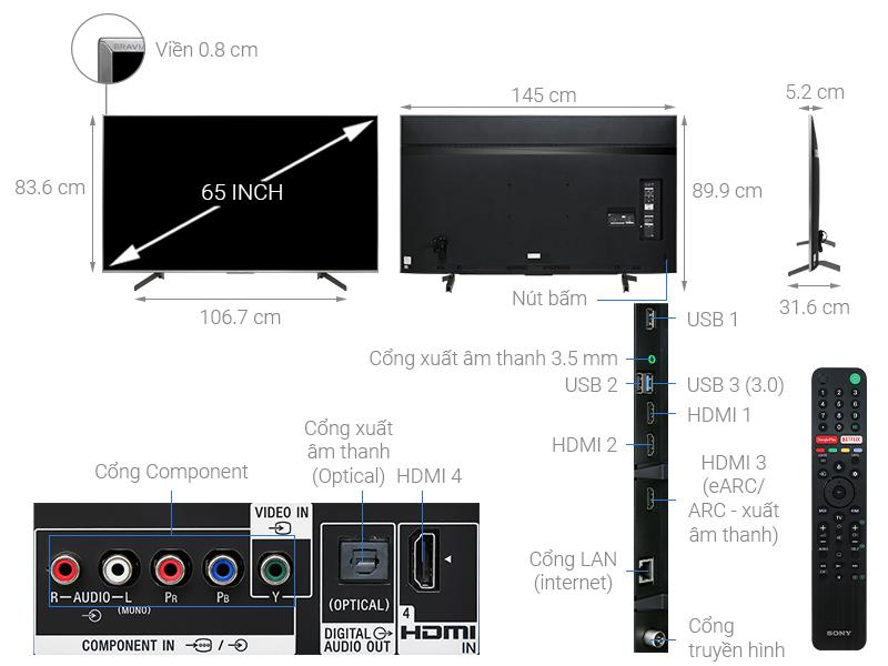 Thông số kỹ thuật Android Tivi Sony 4K 65 inch KD-65X8500G/S