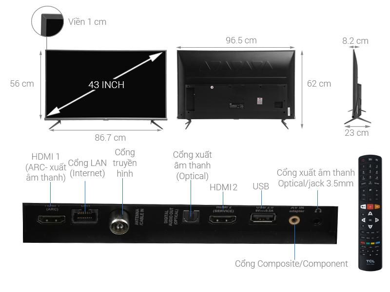 Thông số kỹ thuật Android Tivi TCL 4K 43 inch L43A8