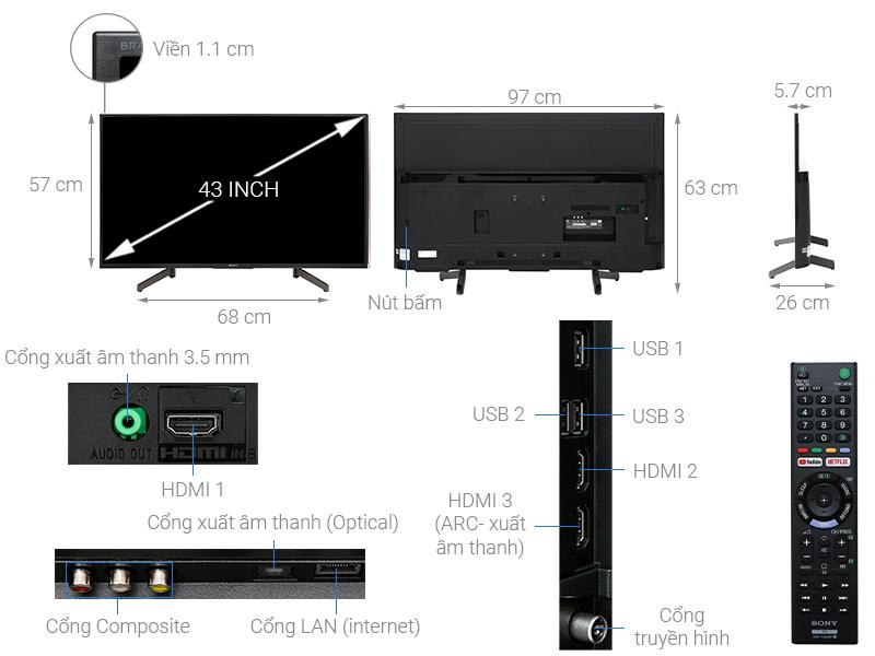 Thông số kỹ thuật Smart Tivi Sony 4K 43 inch KD-43X7000G