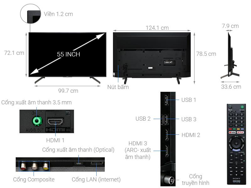 Thông số kỹ thuật Smart Tivi Sony 4K 55 inch KD-55X7000G