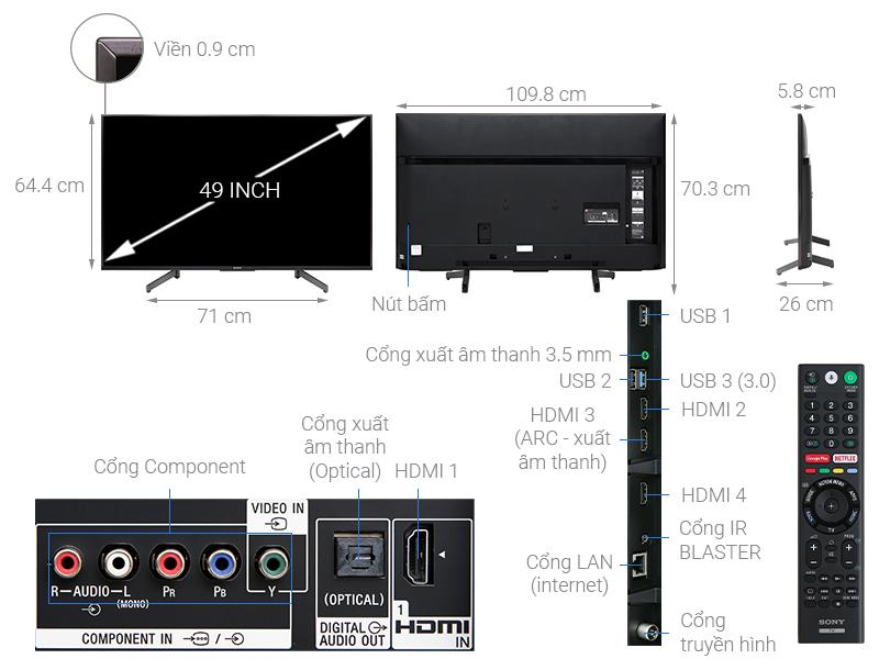 Thông số kỹ thuật Android Tivi Sony 4K 49 inch KD-49X8500G
