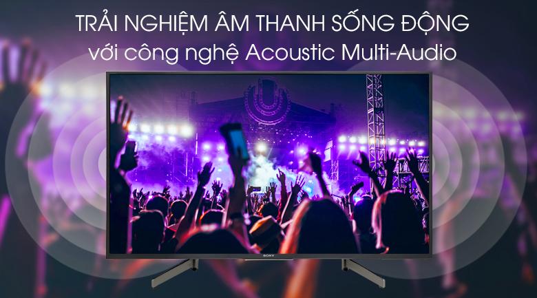 Android Tivi Sony 4K 49 inch KD-49X8500G - Công nghệ Acoustic Multi-Audio và hai loa tweeter ở mặt sau tivi cho trải nghiệm âm thanh sống động