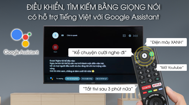 Android Tivi Sony 4K 49 inch KD-49X8500G - Remote và Google Assistant