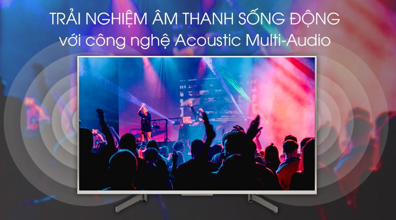 Android Tivi Sony 4K 49 inch KD-49X8500G/S -  Âm thanh sống động nhờ sự kết hợp giữa công nghệ Acoustic Multi-Audio và hai loa tweeter ở mặt sau tivi