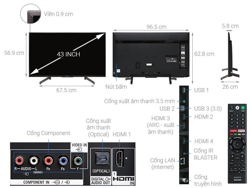 Thông số kỹ thuật Android Tivi Sony 4K 43 inch KD-43X8500G