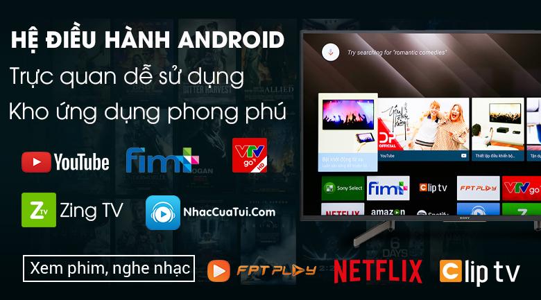 Android Tivi Sony 4K 43 inch KD-43X8500G-Kho ứng dụng phong phú với hệ điều hành Android 8.0