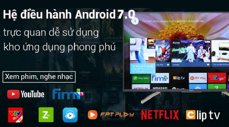 Android Tivi Sony 4K 43 inch KD-43X8500G-Kho ứng dụng phong phú với hệ điều hành Android 7.0