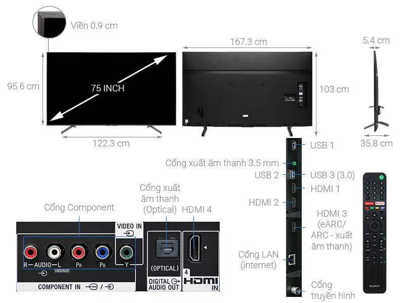 Thông số kỹ thuật Android Tivi Sony 4K 75 inch KD-75X8500G