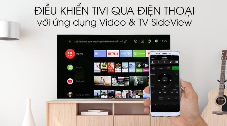 Android Tivi Sony 4K 75 inch KD-75X8500G Mẫu 2019 - Điều khiển tivi bằng điện thoại qua ứng dụng Video & TV SdeView
