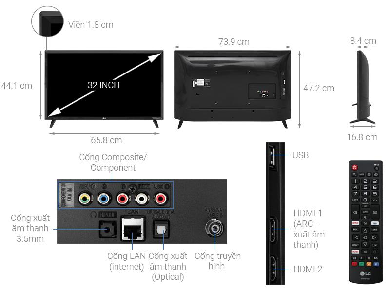Thông số kỹ thuật Smart Tivi LG 32 inch 32LM570BPTC
