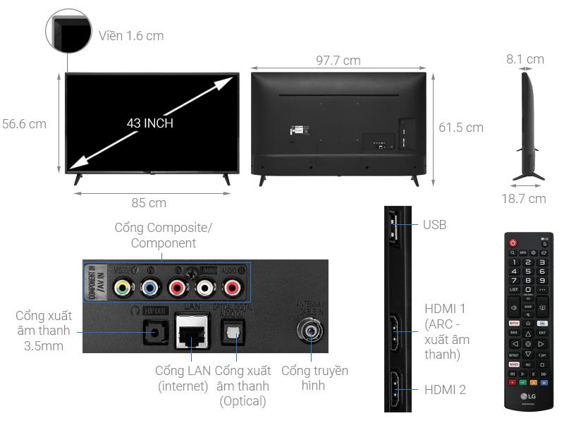 Thông số kỹ thuật Smart Tivi LG 43 inch 43LM5700PTC