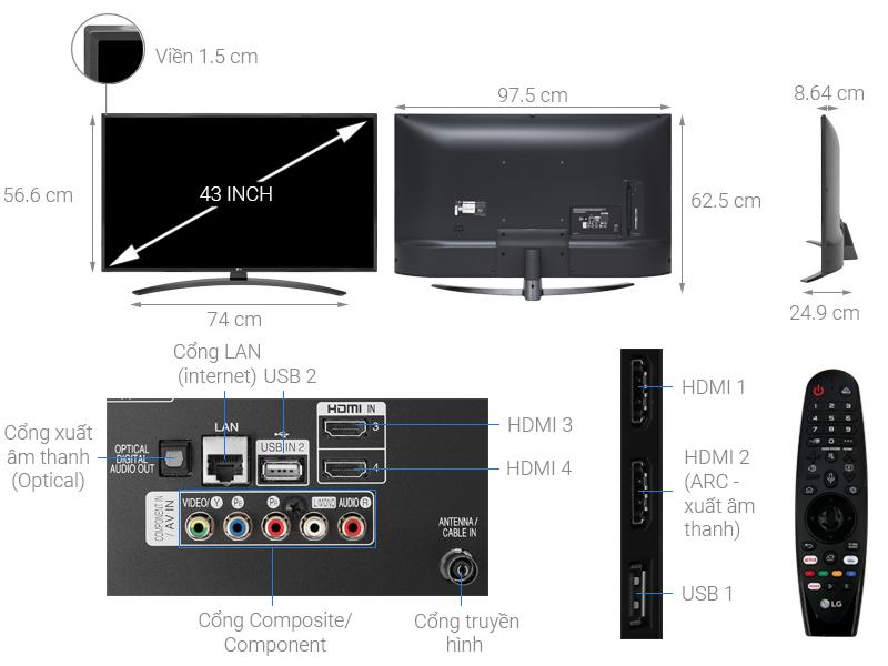 Thông số kỹ thuật Smart Tivi LG 4K 43 inch 43UM7600PTA
