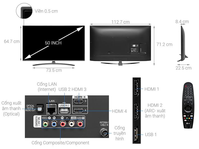 Thông số kỹ thuật Smart Tivi LG 4K 50 inch 50UM7600PTA