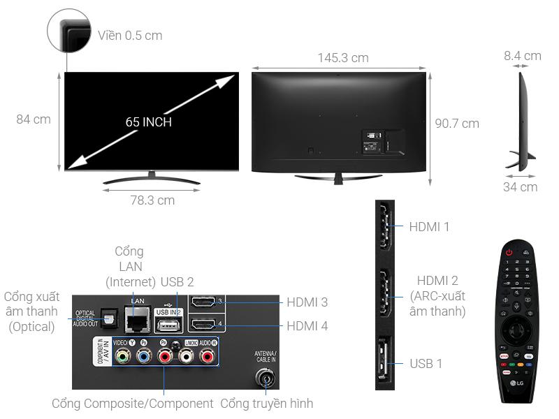 Thông số kỹ thuật Smart Tivi LG 4K 65 inch 65UM7600PTA