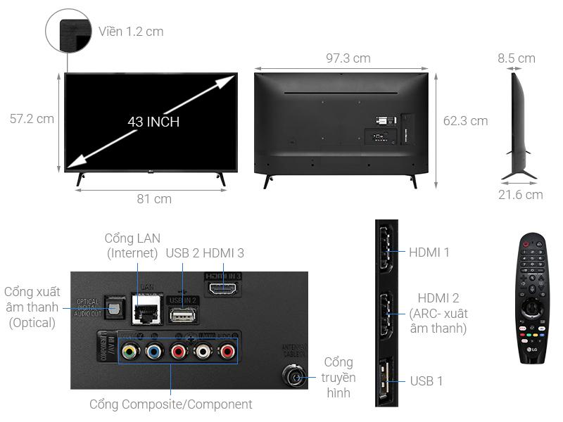 Thông số kỹ thuật Smart Tivi LG 4K 43 inch 43UM7300PTA