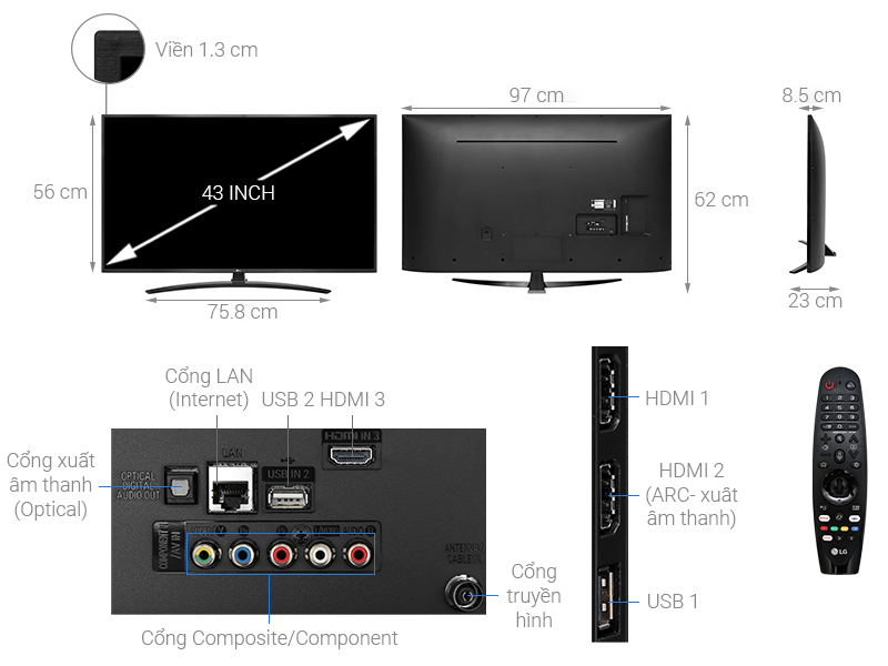Thông số kỹ thuật Smart Tivi LG 4K 43 inch 43UM7400PTA