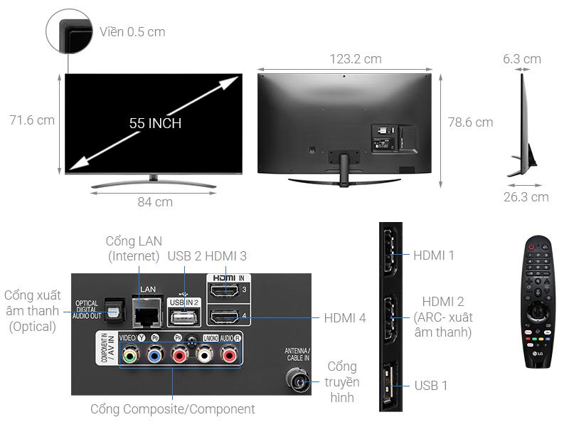 Thông số kỹ thuật Smart Tivi LG 4K 55 inch 55SM8100PTA