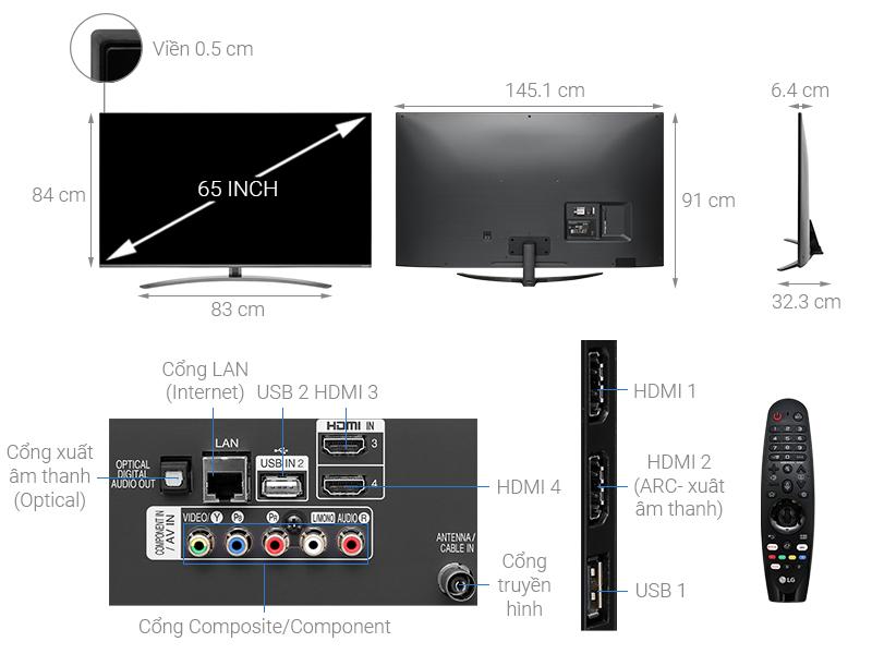 Thông số kỹ thuật Smart Tivi LG 4K 65 inch 65SM8100PTA