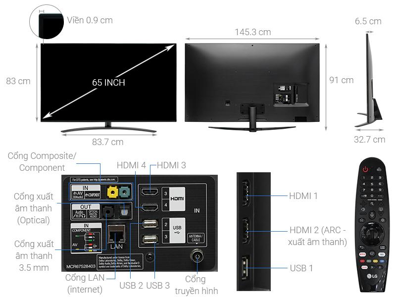 Thông số kỹ thuật Smart Tivi LG 4K 65 inch 65SM8600PTA