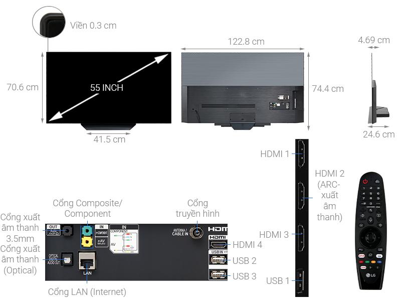 Thông số kỹ thuật Smart Tivi OLED LG 4K 55 inch 55B9PTA