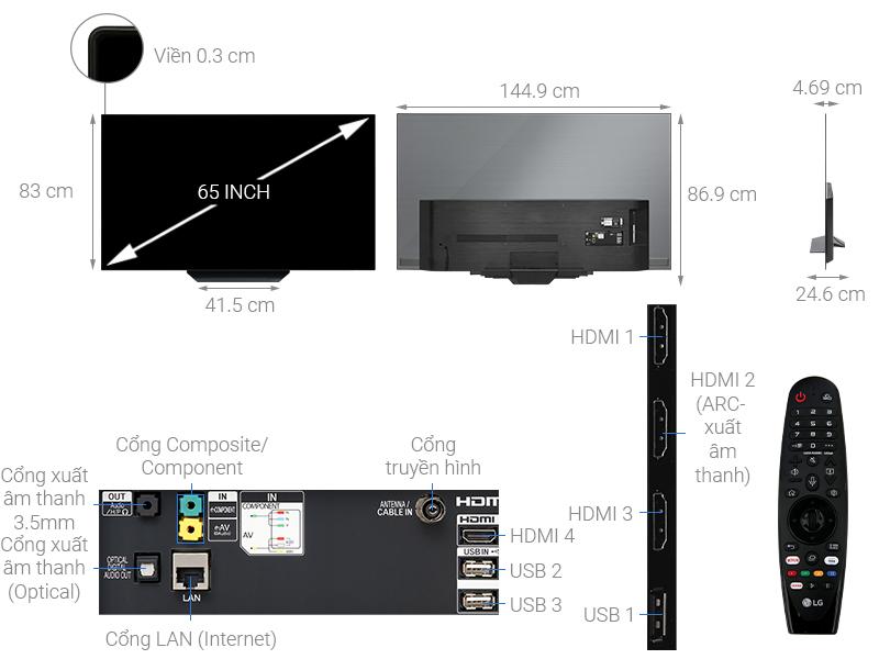 Thông số kỹ thuật Smart Tivi OLED LG 4K 65 inch 65B9PTA