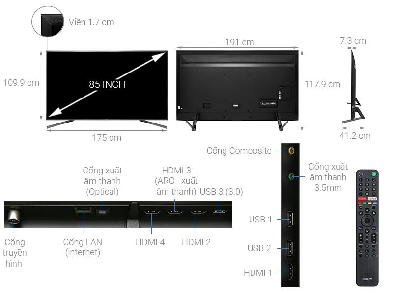Thông số kỹ thuật Android Tivi Sony 4K 85 inch KD-85X9500G