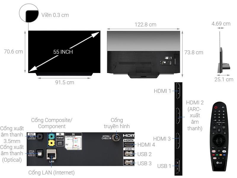 Thông số kỹ thuật Smart Tivi OLED LG 4K 55 inch 55C9PTA