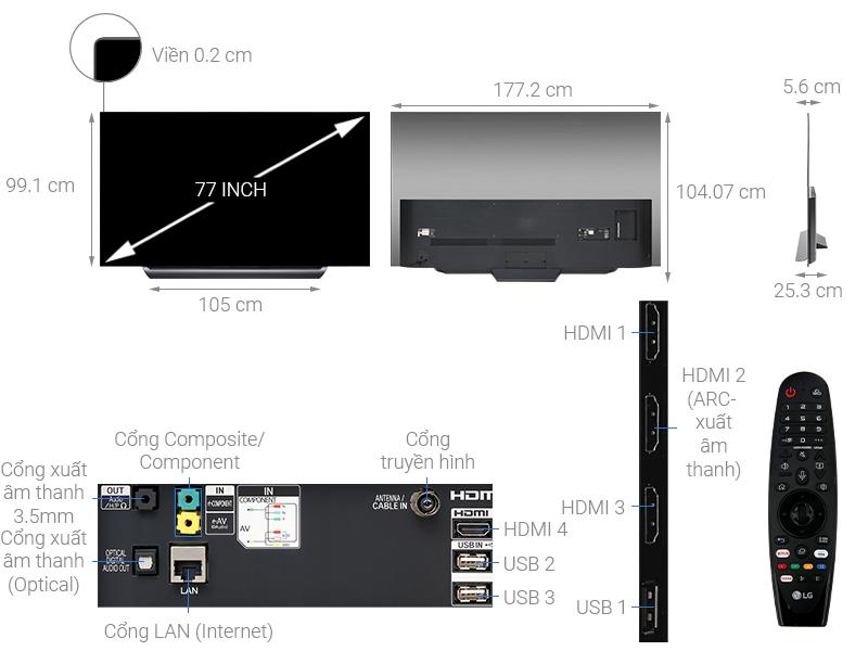 Thông số kỹ thuật Smart Tivi OLED LG 4K 77 inch 77C9PTA