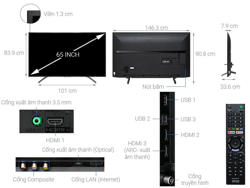 Thông số kỹ thuật Smart Tivi Sony 4K 65 inch KD-65X7000G