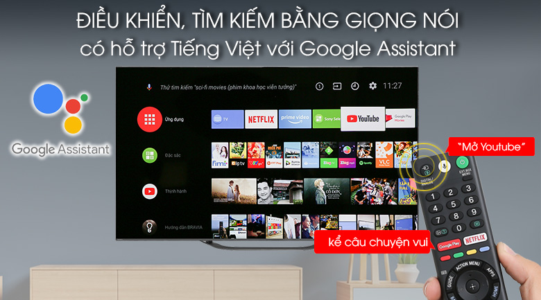 Android Tivi OLED Sony 4K 55 inch KD-55A8G - Voice Search