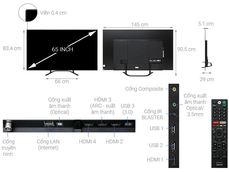 Thông số kỹ thuật Android Tivi OLED Sony 4K 65 inch KD-65A8G