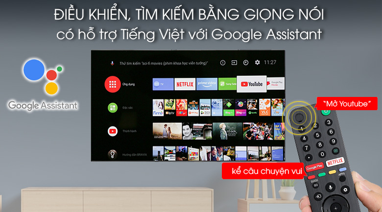 Android Tivi OLED Sony 4K 65 inch KD-65A8G - Voice Search