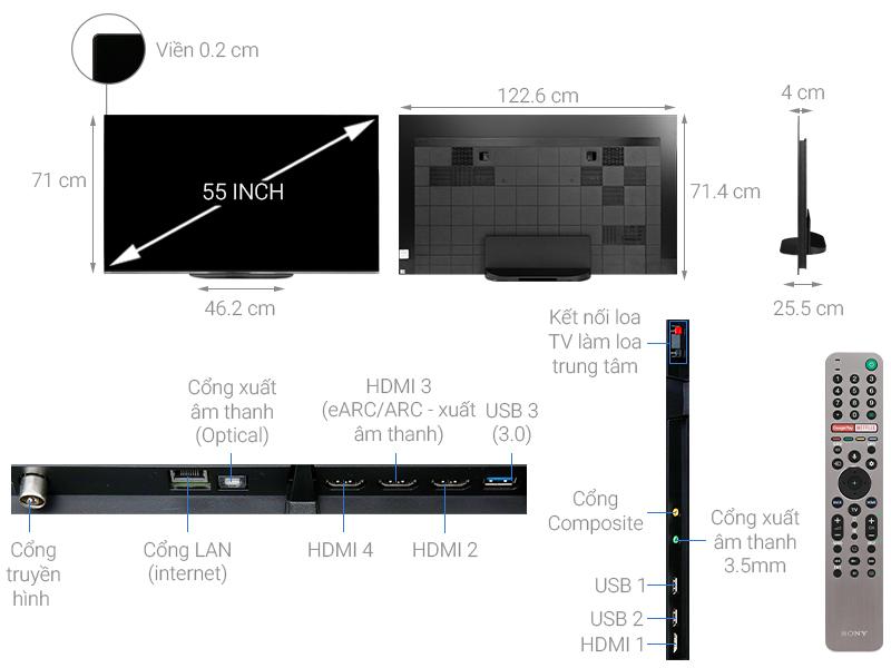 Thông số kỹ thuật Android Tivi OLED Sony 4K 55 inch KD-55A9G