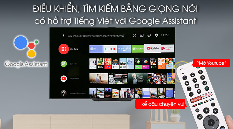 Android Tivi OLED Sony 4K 55 inch KD-55A9G - google assistant