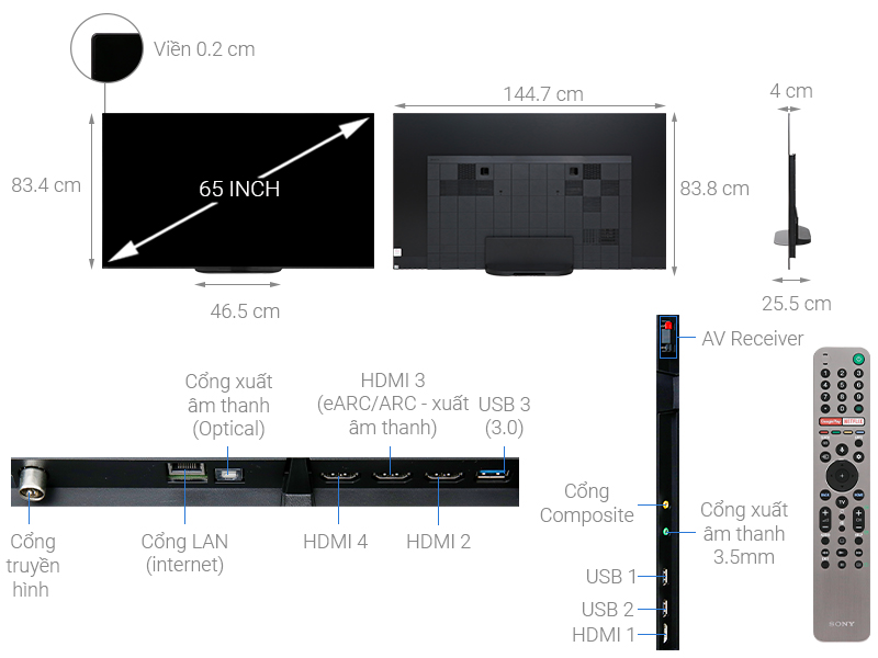 Thông số kỹ thuật Android Tivi OLED Sony 4K 65 inch KD-65A9G