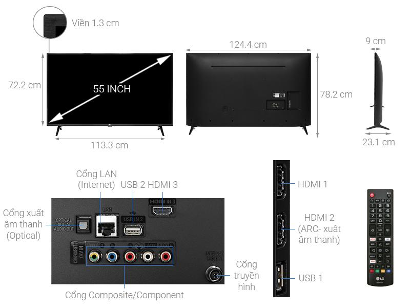 Thông số kỹ thuật Smart Tivi LG 4K 55 inch 55UM7290PTD