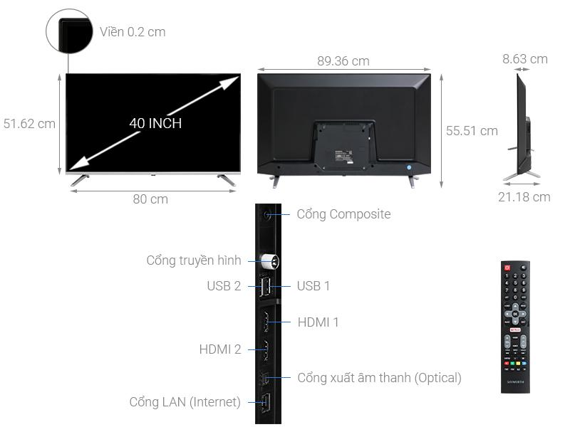 Thông số kỹ thuật Smart Tivi Skyworth 40 inch 40TB5000