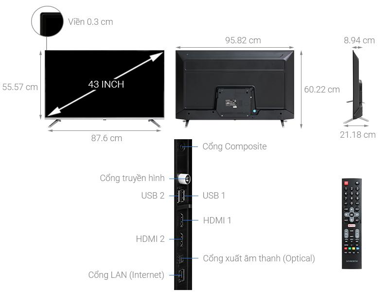 Thông số kỹ thuật Smart Tivi  Skyworth 43 inch 43TB5000
