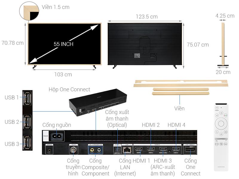 Thông số kỹ thuật Smart Tivi Khung Tranh QLED Samsung 4K 55 inch QA55LS03R