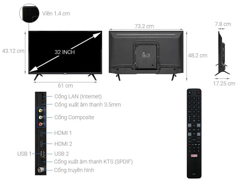 Thông số kỹ thuật Smart Tivi TCL 32 inch L32S6300