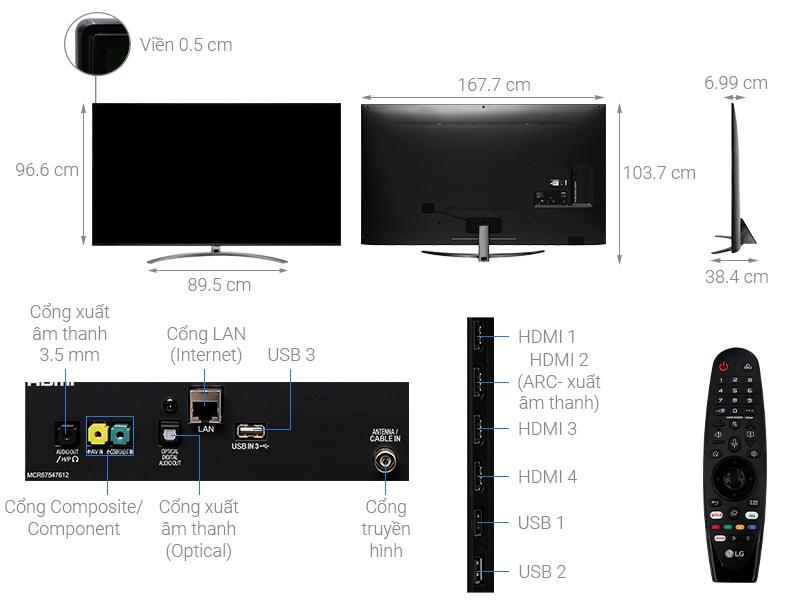 Thông số kỹ thuật Smart Tivi LG 8K 75 inch 75SM9900PTA