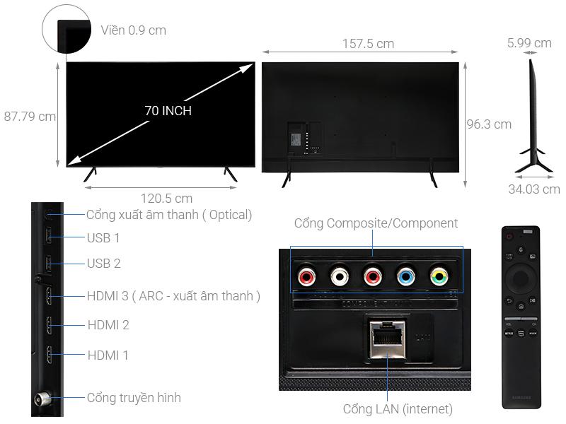 Thông số kỹ thuật Smart Tivi Samsung 4K 70 inch UA70RU7200